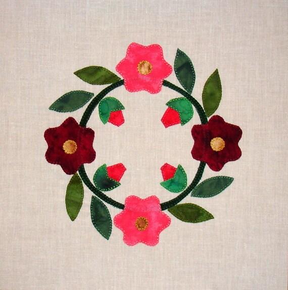 Posey Wreath Baltimore Album Appliqued  Quilt Block
