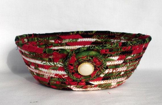 Christmas Coiled Fabric Bowl