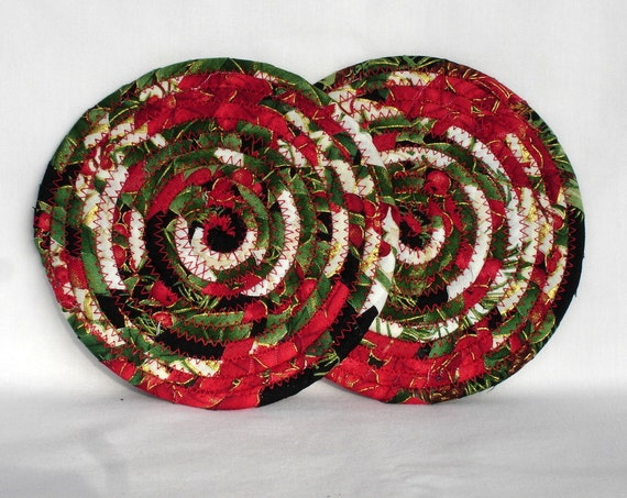 Christmas Coiled Fabric Coasters