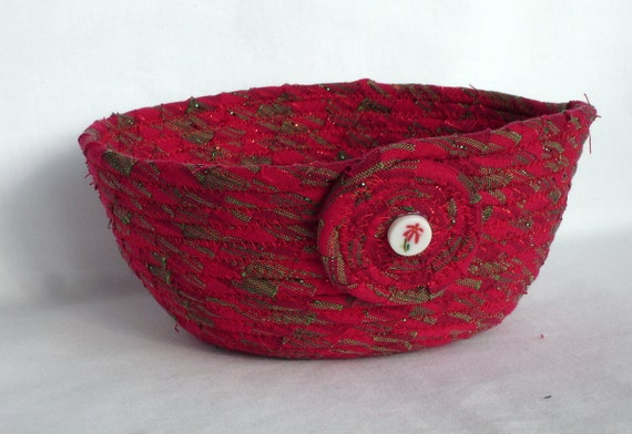 Christmas Red Coiled Fabric Bowl
