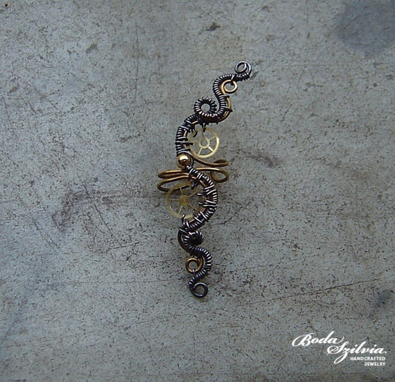 Copper and brass  wire wrapped steampunk ear cuff OOAK