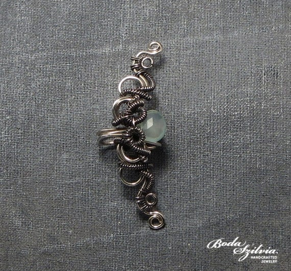 Siren wire wrapped ear cuff with chalcedony