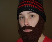 Black and Red Beard Beanie with Dark Brown Beard Adult Sized