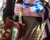 Sage and Brown Easter Bunny Ear Hat and Basket You Choose Size