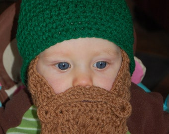 6 to 12 Months Baby Beard Beanie Green Can Customize Size