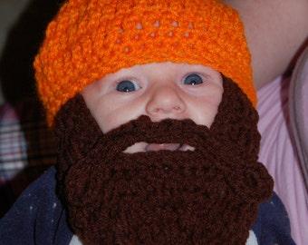Blaze Orange Baby Beard Beanie 0 to 3 Months Size