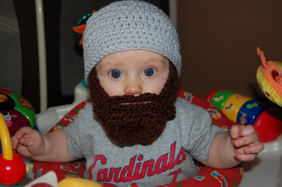 6 to 12 Months Baby Beard Beanie Can Customize Size