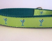 Dog Collar, Blue Martini ,1 inch wide, adjustable, quick release, metal buckle, chain, martingale, hybrid, nylon