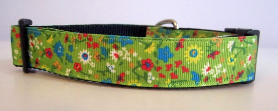 Dog Collar, Lemongrass, Floral, 1 inch wide, adjustable, quick release, metal buckle, chain, martingale, hybrid, green, pretty