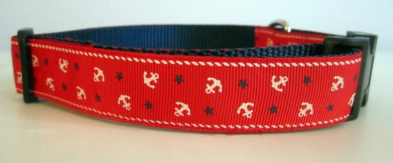 Red Anchors Dog Collar