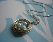 Baby Blue Bird's Nest Necklace