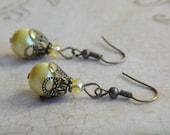 Yellow Pearl Antique Brass Earrings