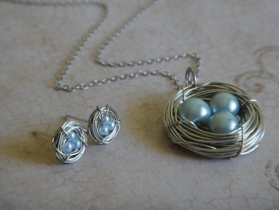 Baby Blue Pearl Bird's Nest Necklace and Earring Set