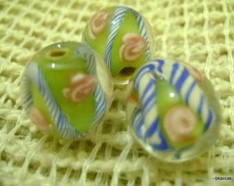 10 Pcs Green,white,blue and  pink 12x12 mm  Oval Lampwork Glass Beads...Beads for Jewelry