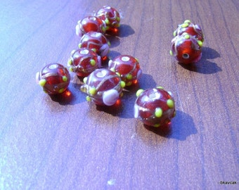 10 Pcs Citrine 12x10 mm Round Lampwork Glass Beads...Jewelry Making Beads