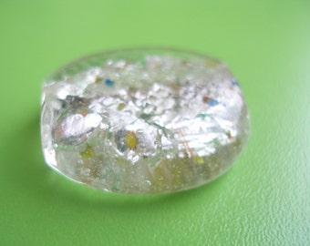 1 PCS white  28x28 mm oval Glass Lampwork Beads...Jewelry Making Beads