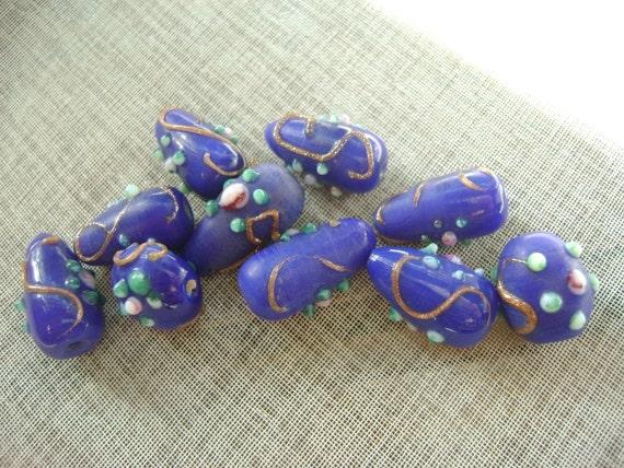 10Pcs Dark blue 11x18mm oval lampwork ... glass beads....