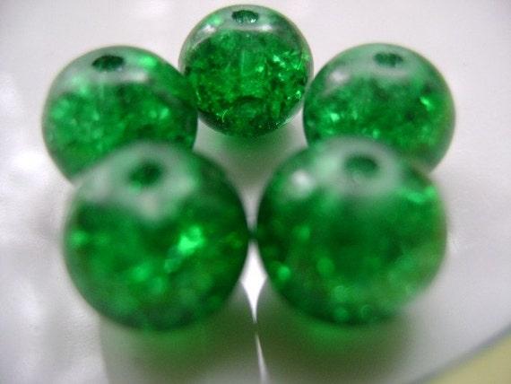 10 PCS Bright Green 10-11 mm Glass Lampwork Beads...