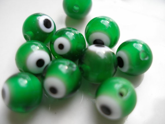 8 PCS White Point Green 8 mm Round  Lampwork  Glass  Beads....