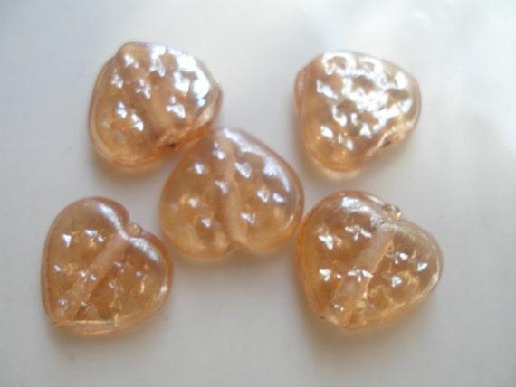 10 Pcs  14x15 mm Inlaid Heart Shape Glass Lampwork Beads...