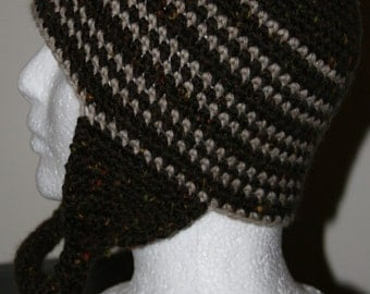earflap hat in brown tweed and natural shade