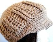 Crochet Newsboy Hat, Beige, Tan, Taupe, Women and Teen, Celebrity Style, Knit