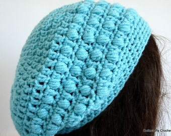 Crochet Slouchy Hat, Teal, Green/Blue, Aquamarine, Tam, Beret, Knit