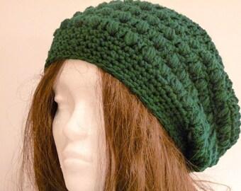 Crochet Slouchy Hat, Tam, Beret, Green, Adult Women and Teen