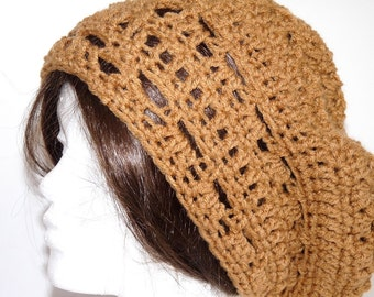 Crochet Rasta, Slouchy Hat, Brown Beanie for Adult Women and Teens, Knit