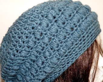 Crochet Blue Slouchy Hat, Beanie, Tam, Beret, Knit