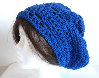 Crochet Rasta Slouchy Hat, Royal Blue Beanie for Teens and Adults