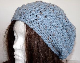 Crochet Slouchy Beanie, Hat, Tam, Beret, Light Blue