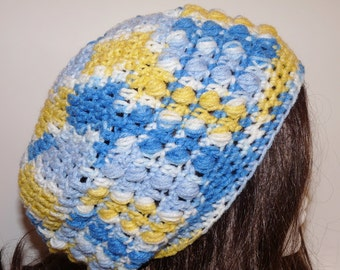 Crochet Slouchy Beanie Hat in Yellow, Blue, and White for Teens and Women