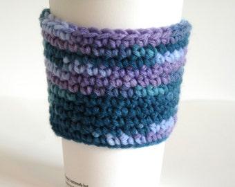 Crochet Coffee Cup Sleeve, Coffee Cozy, Tea Cozy, Purple, Green