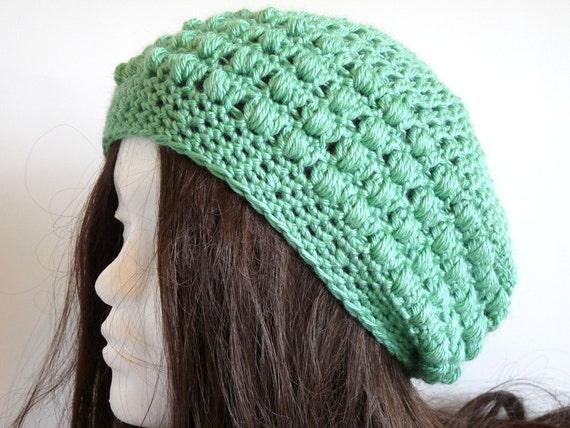 Crochet Slouchy Beanie in Spruce Green, Eco Friendly, Organic