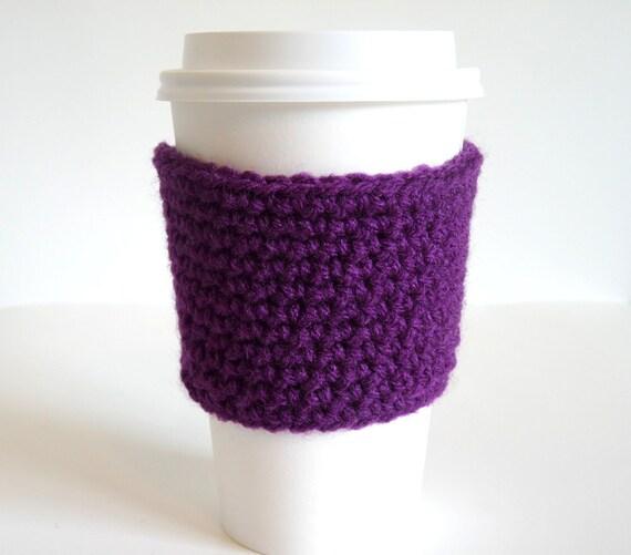 Crochet Coffee Cup Sleeve, Coffee Cozy, Tea Cozy in Purple