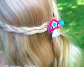 Mushroom Felt Hair Clip in Red and Turquoise Blue - non slip - for Toddlers and Girls - folk style felt clip