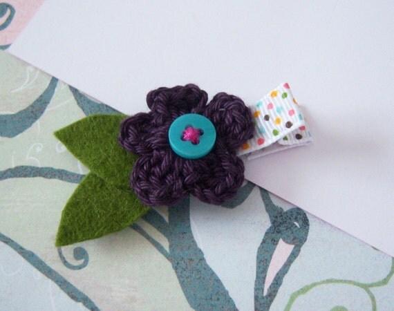 Little Eggplant Crochet Flower Hair Clip with a Teal Button