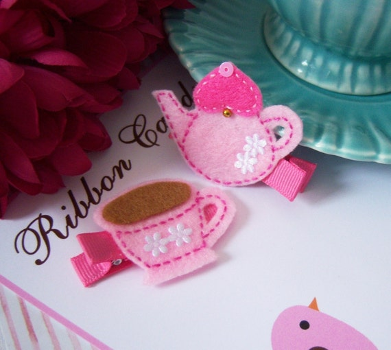 Pink Teapot and Tea Cups Hair Clips in Felt - Its Tea Time - non slip set of 2 - Tea Party - Alice in Wonderland Party
