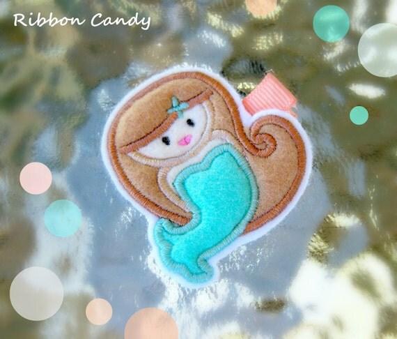 Mermaid Felt Hair Clip - Embroidered - Light Brown Hair Mermaid with Aqua Tail Hair Clip - non slip