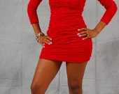 Vintage 1980's Red Ribbon Body Con Mini Dress