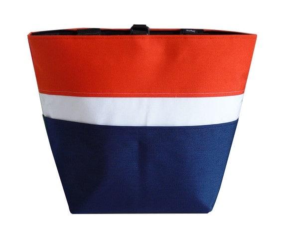 Mandarin Orange, White, Navy Blue XLarge Multipurpose Tote for Work Travel Sporta Gym Market