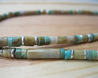 Tan Jasper, Turquoise, Silver Necklace, Ethnic Necklace, Mens Turquoise Necklace, Mens Tribal Necklace, Native American Necklace