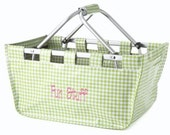 SALE    Lime Vinyl Collapsible Maket Tote Craft Tote  NO EMBROIDERY