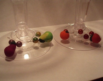 Polymer Clay Charm Wine Glass Charms - Set of 4