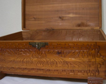 Carved Cedar Chest 1940s Dovetail Box with Flower Lid