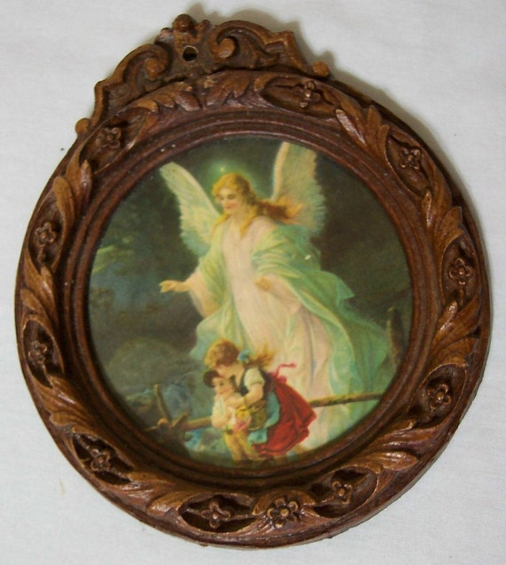 Vintage Guardian Angel with Boy and Girl on the Bridge
