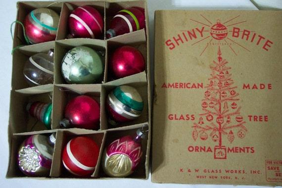 Vintage 1940s Christmas Tree Ornaments In Original Shiny Brite