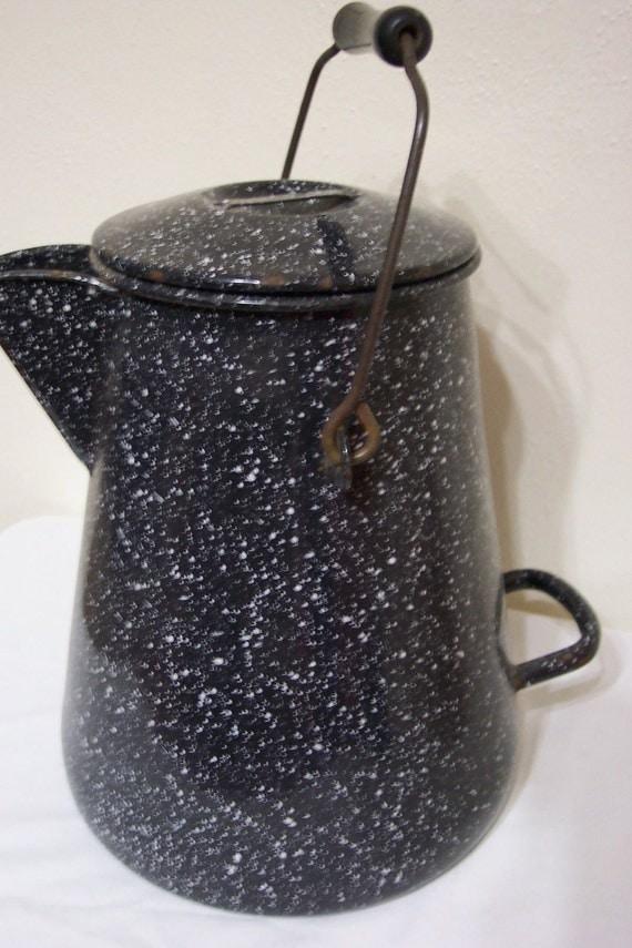 U S Navy Coffeepot, Graniteware Dark Blue Speckled Coffee Pot, Heavy Granite USN Coffeepot... Large Granite Coffee Pot