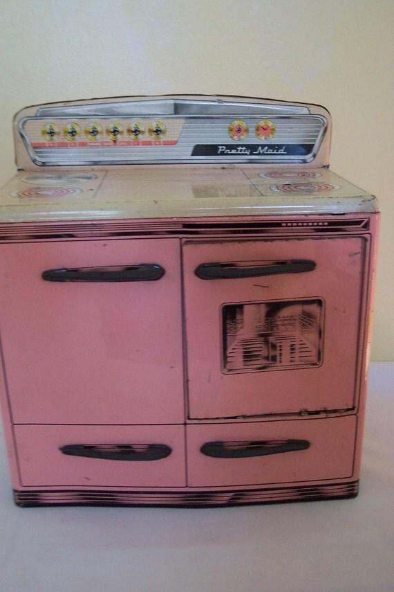 Pink tin toy kitchen range toy stove kitchen stove metal for Kitchen stove set